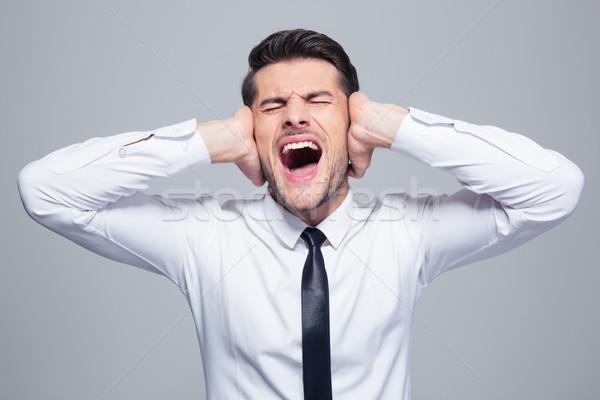 üzletember fülek sikít szürke haj stressz Stock fotó © deandrobot