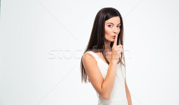 Nő mutat ujj ajkak gyönyörű nő izolált Stock fotó © deandrobot