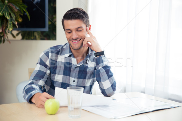 肖像 幸せ 男 ノートパソコン ホーム ストックフォト © deandrobot
