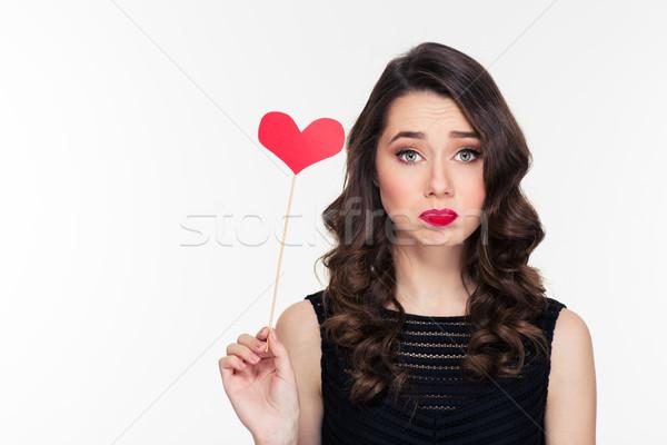 Cute triest gekruld meisje hart Stockfoto © deandrobot