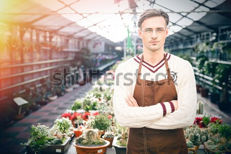 Confident man gardener standing in greenhouse with arms crossed Stock photo © deandrobot