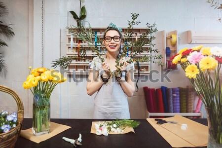 Bitkin kadın çiçekçi lale Stok fotoğraf © deandrobot