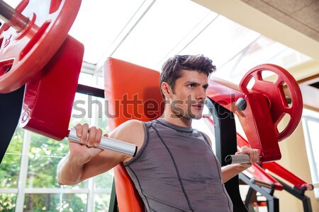 Porträt Bodybuilder ruhend Training Fitness Fitnessstudio Stock foto © deandrobot
