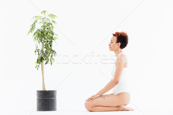 Calm woman with eyes closed sitting near tree in pot Stock photo © deandrobot