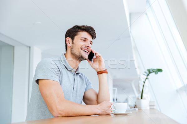Foto d'archivio: Uomo · parlando · cellulare · pausa · caffè · casuale