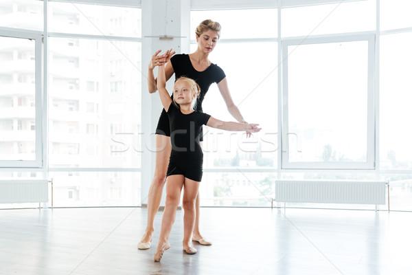 Kicsi ballerina tanár tánc balett iskola Stock fotó © deandrobot