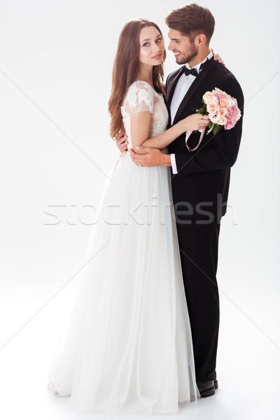 Portre mutlu yeni evliler buket düğün çift Stok fotoğraf © deandrobot
