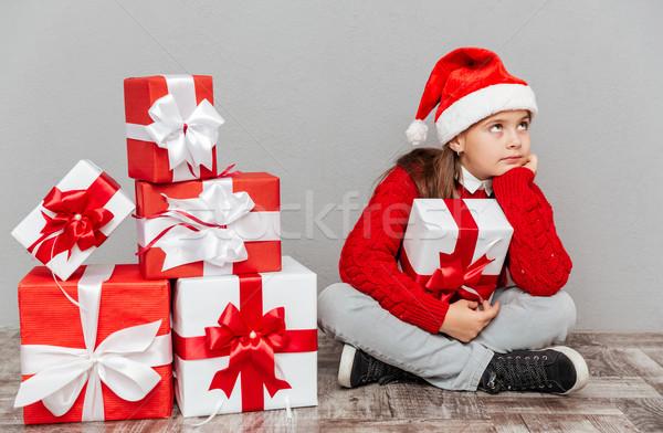 退屈 女の子 サンタクロース 帽子 ギフトボックス 座って ストックフォト © deandrobot