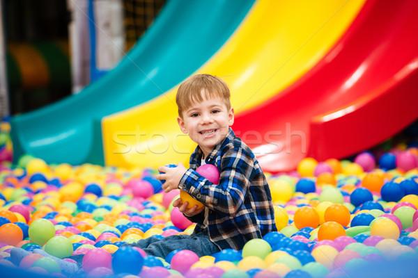 Alegre pequeno menino jogar recreio Foto stock © deandrobot