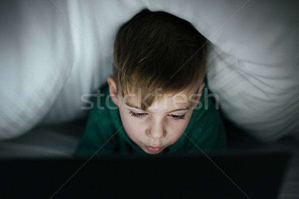 Stock fotó: Kaukázusi · boldog · gyerek · rejtőzködik · pléd · játszik