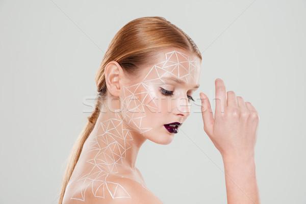 Fényes portré nő testművészet közelkép kéz Stock fotó © deandrobot