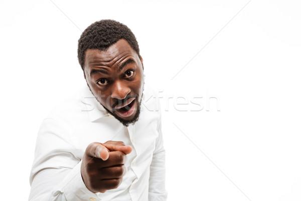 ストックフォト: 幸せ · 小さな · アフリカ · 男 · シャツ · ポインティング