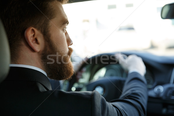 Young bearded business man driving car Stock photo © deandrobot