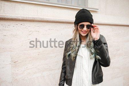 одежды прослушивании музыку улице Сток-фото © deandrobot