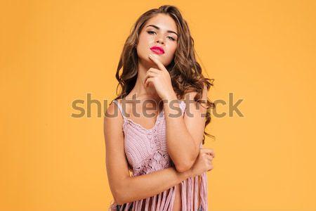 Portret aantrekkelijk meisje strohoed jonge Stockfoto © deandrobot
