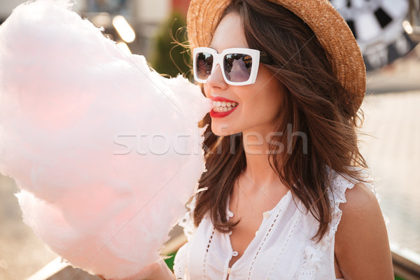 Close up portrait of a happy young girl in sunglasses Stock photo © deandrobot
