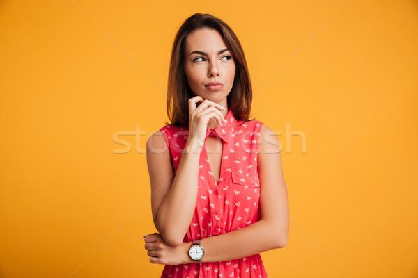 Portret nadenkend mooie brunette vrouw aanraken Stockfoto © deandrobot