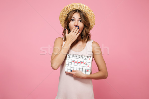Portrait of a shocked overwhelmed girl in summer hat Stock photo © deandrobot