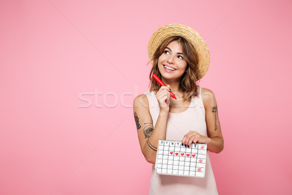 Portrait of a happy cute girl in summer hat Stock photo © deandrobot
