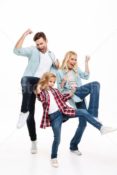 肖像 幸せ 満足した 家族 子 ストックフォト © deandrobot