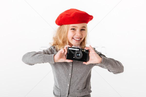 Portret uśmiechnięty mały uczennica uniform Zdjęcia stock © deandrobot