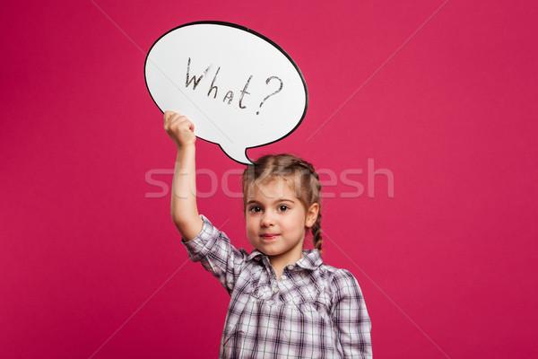 Bastante little girl criança balão de fala imagem Foto stock © deandrobot