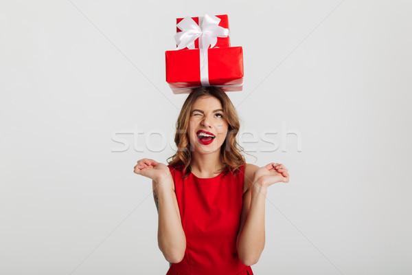 肖像 面白い 若い女性 赤いドレス スタック ストックフォト © deandrobot