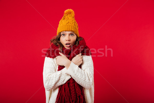 Portrait of a frozen girl dressed in winter hat Stock photo © deandrobot
