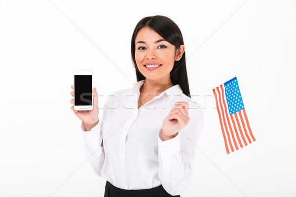 Stock fotó: Portré · boldog · ázsiai · üzletasszony · tart · amerikai · zászló