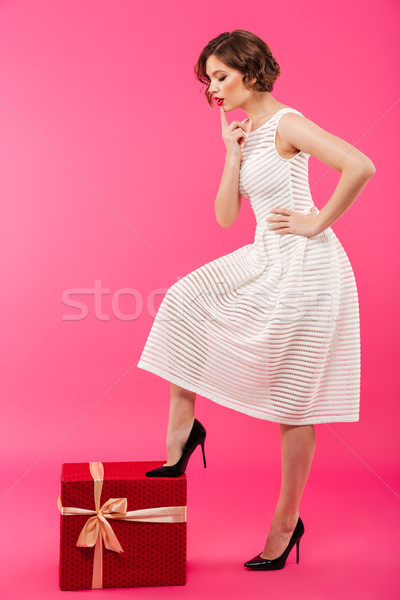 Tam uzunlukta portre kız elbise bacak Stok fotoğraf © deandrobot