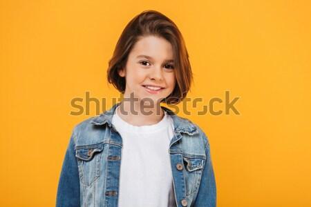 портрет улыбаясь мало школьница рюкзак глядя Сток-фото © deandrobot