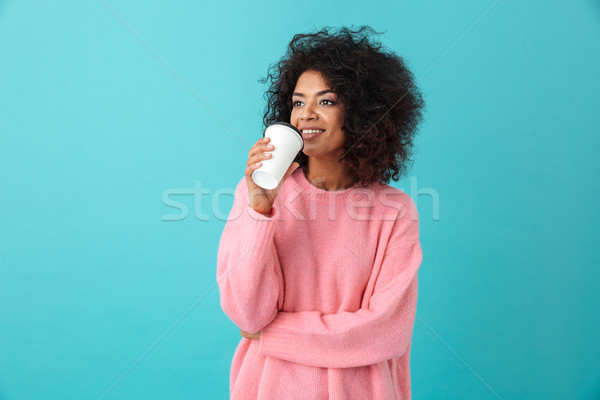 Portret american femeie 20 de ani Afro coafura Imagine de stoc © deandrobot