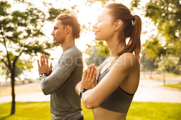 Kép sportos sportos pár férfi nő Stock fotó © deandrobot