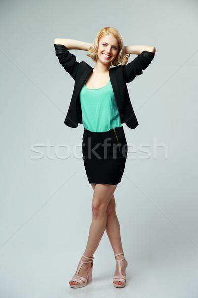 Retrato jovem empresária cinza negócio Foto stock © deandrobot