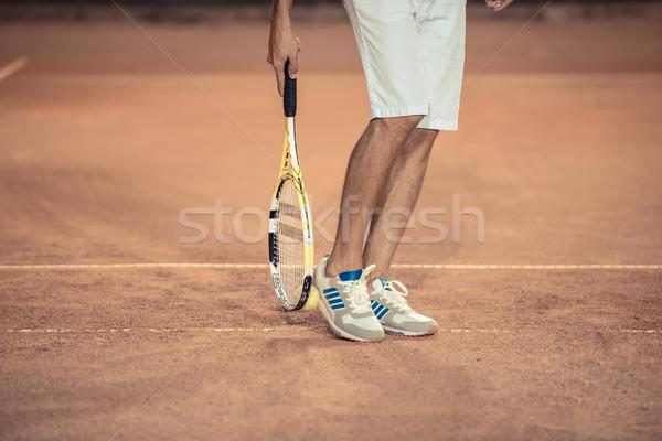 мужчины ног Теннисная ракетка спорт теннис Сток-фото © deandrobot