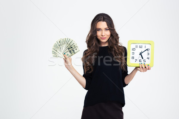 Girl holding wall clock and bills of dollars Stock photo © deandrobot