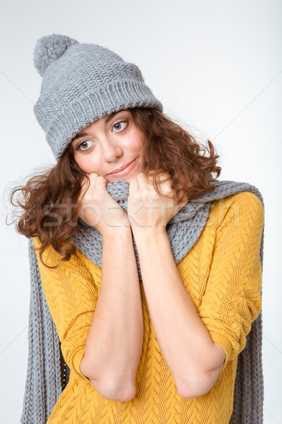 Heureux femme écharpe chapeau portrait Photo stock © deandrobot