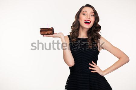 Excited happy confident curly retro styled woman pointing at camera  Stock photo © deandrobot