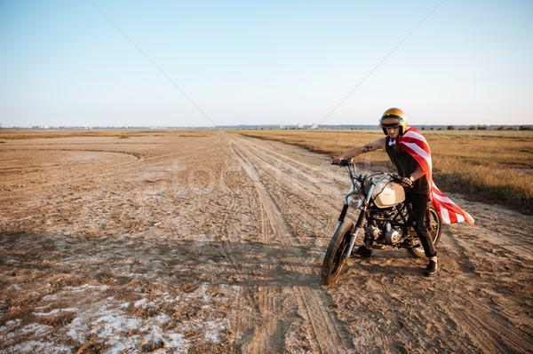男 ヘルメット アメリカンフラグ 運転 オートバイ ストックフォト © deandrobot