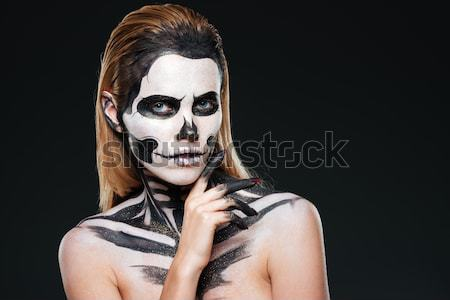 Portré lány ijedt csontváz smink fekete Stock fotó © deandrobot
