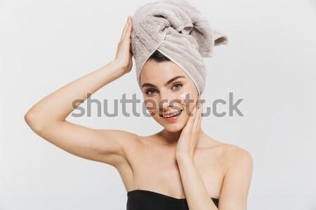 Cansado mujer entrenamiento sudar frente mujer de la aptitud Foto stock © deandrobot