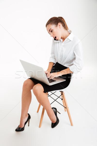 Stock fotó: Elfoglalt · üzletasszony · laptopot · használ · beszél · telefon · ül