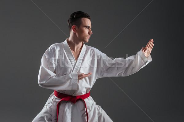 Fiatal sportoló kimonó gyakorlat karate fotó Stock fotó © deandrobot