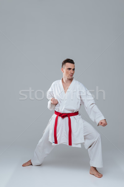 Handsome young sportsman dressed in kimono practice in karate Stock photo © deandrobot