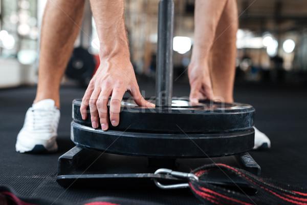 Vücut geliştirmeci spor salonu el uygunluk egzersiz kas Stok fotoğraf © deandrobot