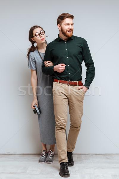 Vertical image homme Homme nerd derrière Photo stock © deandrobot