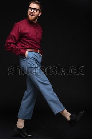 Pionowy obraz mężczyzna nerd okulary broni Zdjęcia stock © deandrobot