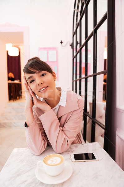 Nő álmodik ül asztal kávézó aranyos Stock fotó © deandrobot