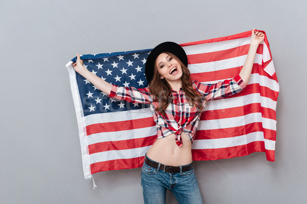 Portrait heureux patriotique fille USA Photo stock © deandrobot