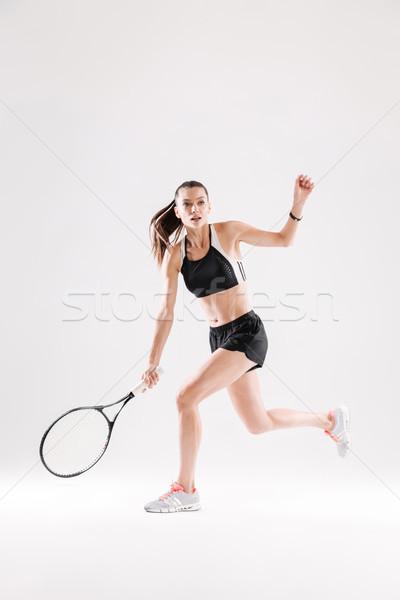 Vrouwelijke tennisspeler racket klaar bal Stockfoto © deandrobot
